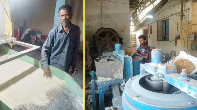 While processing rice at the rice mill and poha production