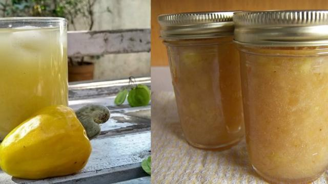 juice and jam made from cashew bond