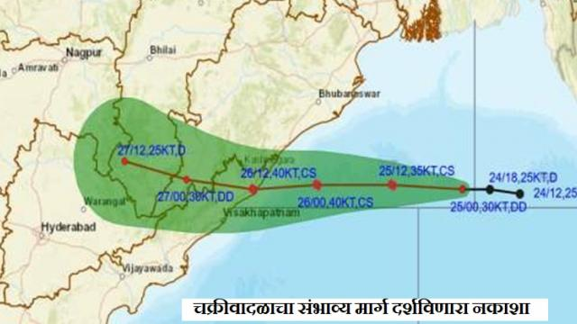 Map showing possible cyclone routes (Courtesy: Meteorological Department)