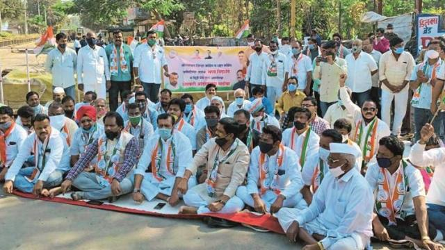 Congress protests against Centre's agricultural laws in Aurangabad
