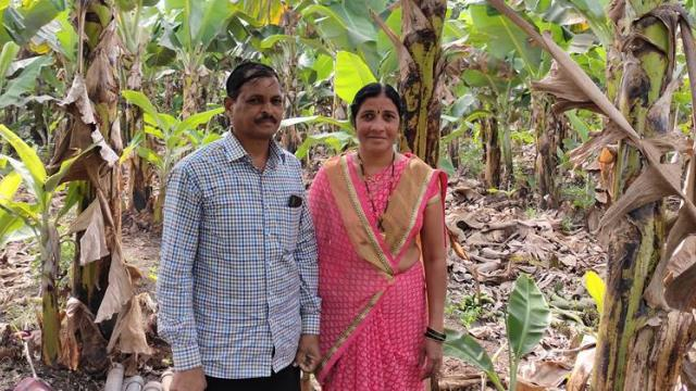 Nirmala and Hari Potekar couple in a banana orchard