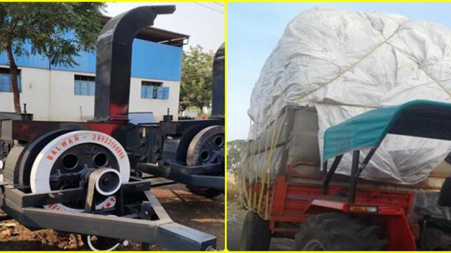 fodder is crushed by using chaff cutter machine and transported through tractor