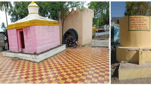 solar system and Paver blocks installed near village temple also the water tanks were installed in the village