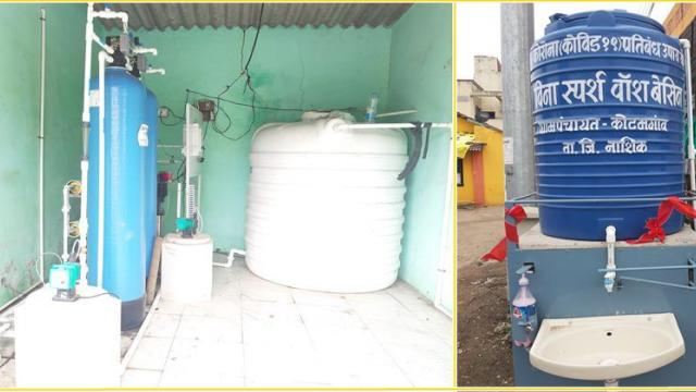 RO plant for pure water and non touching hand wash facility