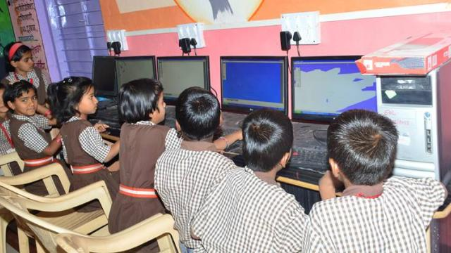 computer education is imparted to the students at Zilla Parishad school