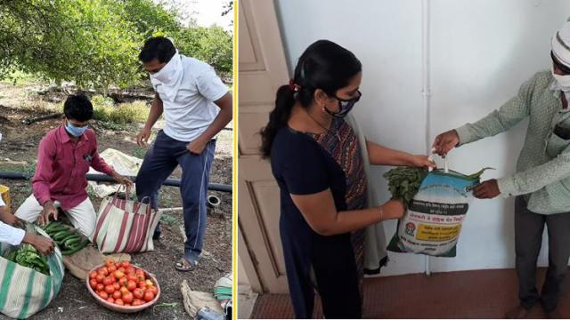 Farmers deliver fruits and vegetables in bags as per customer's order.