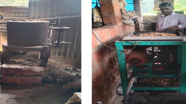 Boiler and seed cutter in processing unit