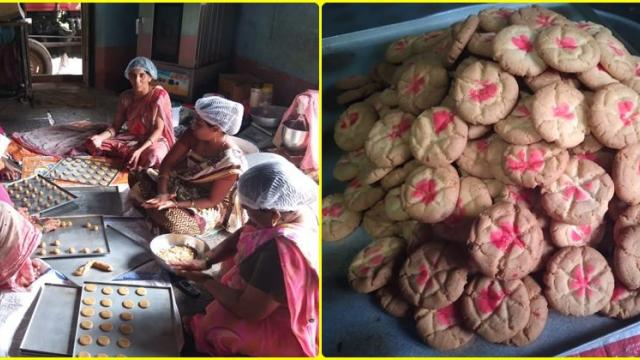 women in the self-help group helps in biscuits preparation