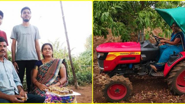 ganesh gaikwad with his family and mrs. gaikwad while working in farm