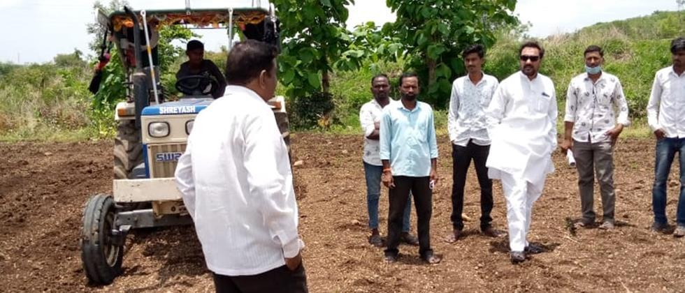 In Umarkhed taluka, plow rotated on ten acres of soybean