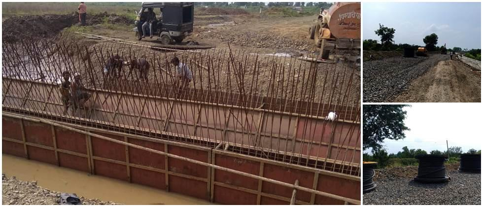 Road obstacle in Santra Processing Unit construction