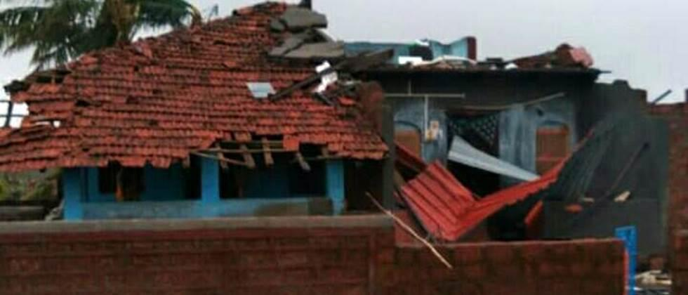 houses damage due to cyclone
