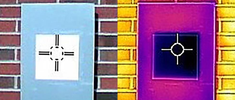 Photographs of white patterns taken with the help of infrared cameras. The dark purple in the center indicates the ability to cool this white surface.