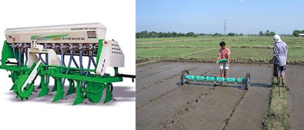 in muddy flat land Paddy sowing by drum seeder is easy