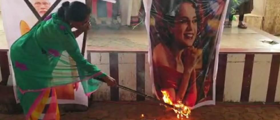 Burning of Kangana Ranawat statue by farmer widows