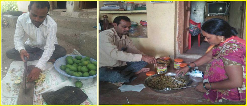packed mango pickles are sold in market