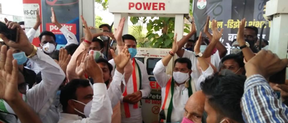 Statewide agitation of Congress on fuel price hike