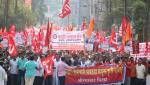 Workers' Joint Action Committee in Aurangabad marches on the Commissioners office