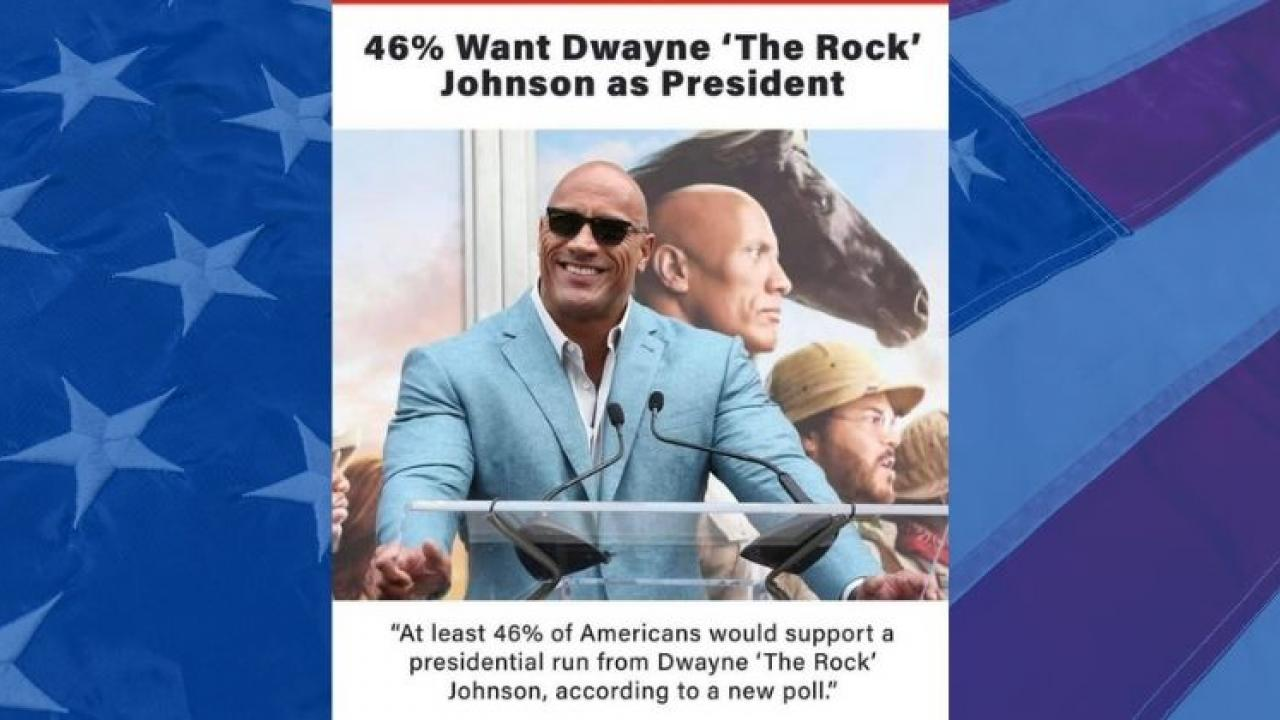 Will The Rock Dwayne Johnson be the President of the United States  with the support of 46 percent of American citizensv
