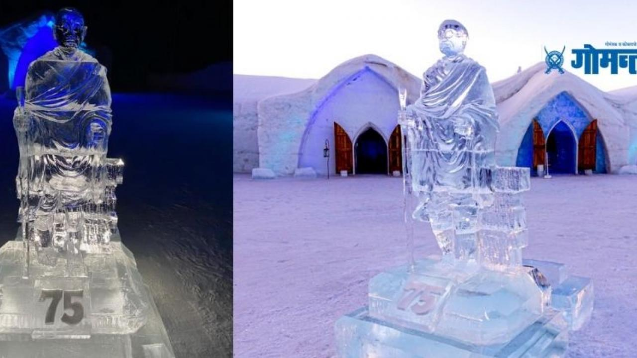 father of nation Mahatma Gandhi seven foot tall ice statue in iconic hotel in Canada