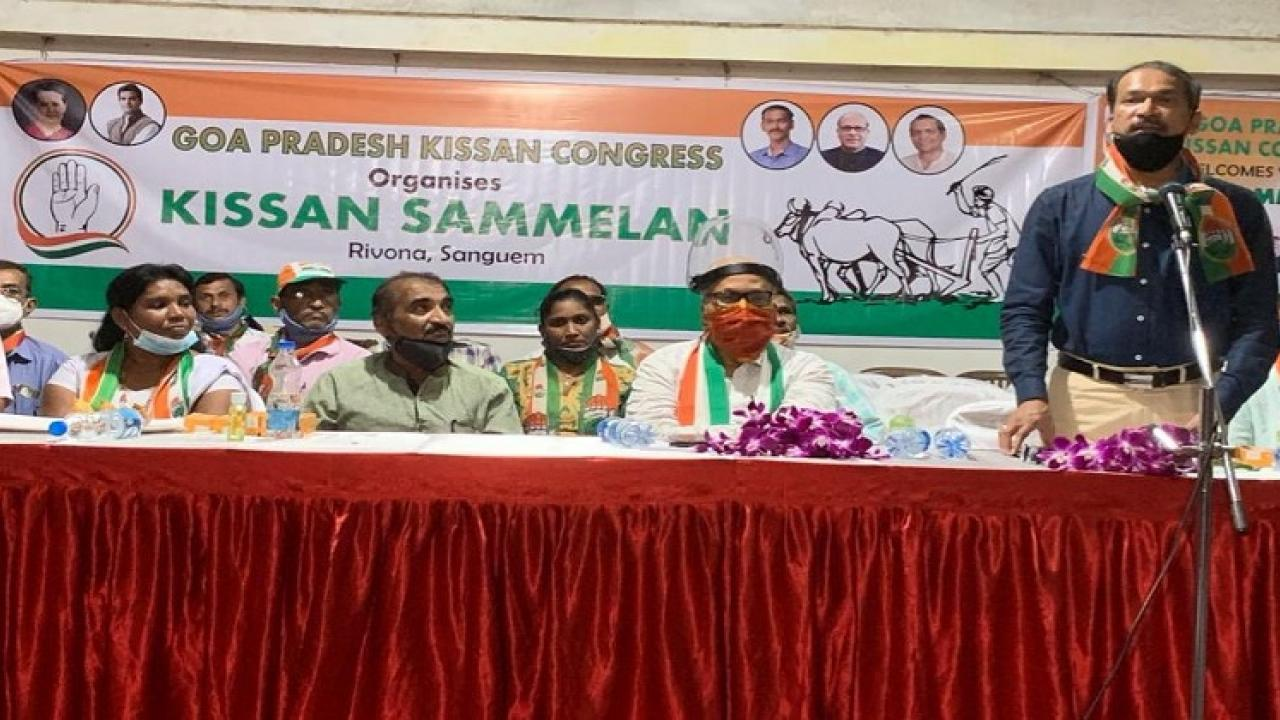 goa congress president attacked on bjp during the kisan sammelan