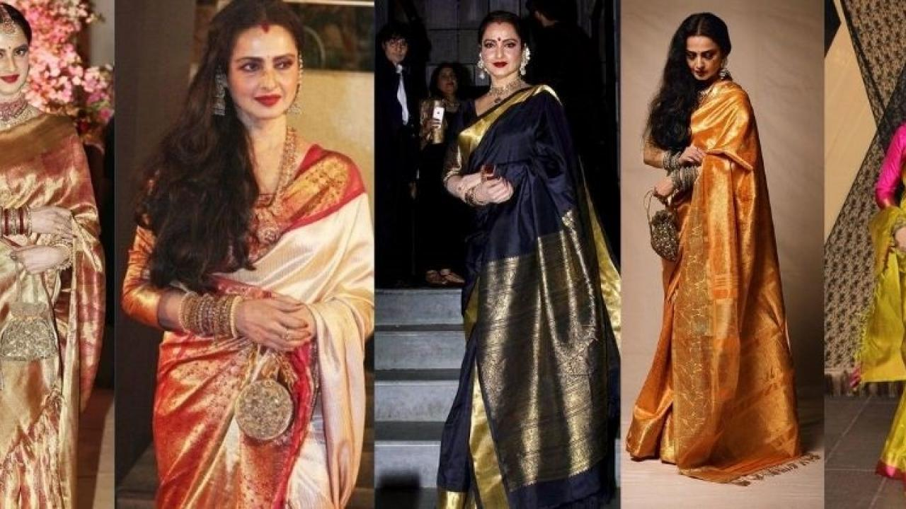 Rekha has a unique collection of Kanjivaram sarees