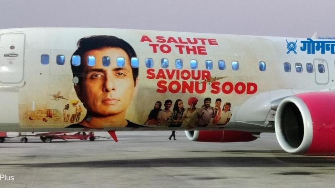 To honor Sonu Sood  SpiceJet posted a photo of the actor on a Boeing 737