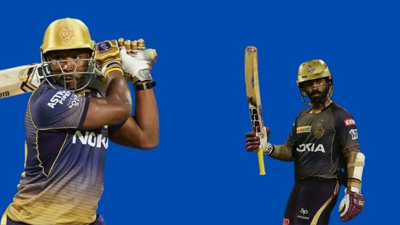 IPL 2021 Dinesh Karthik falls to the ground due to Russells unbeaten shot