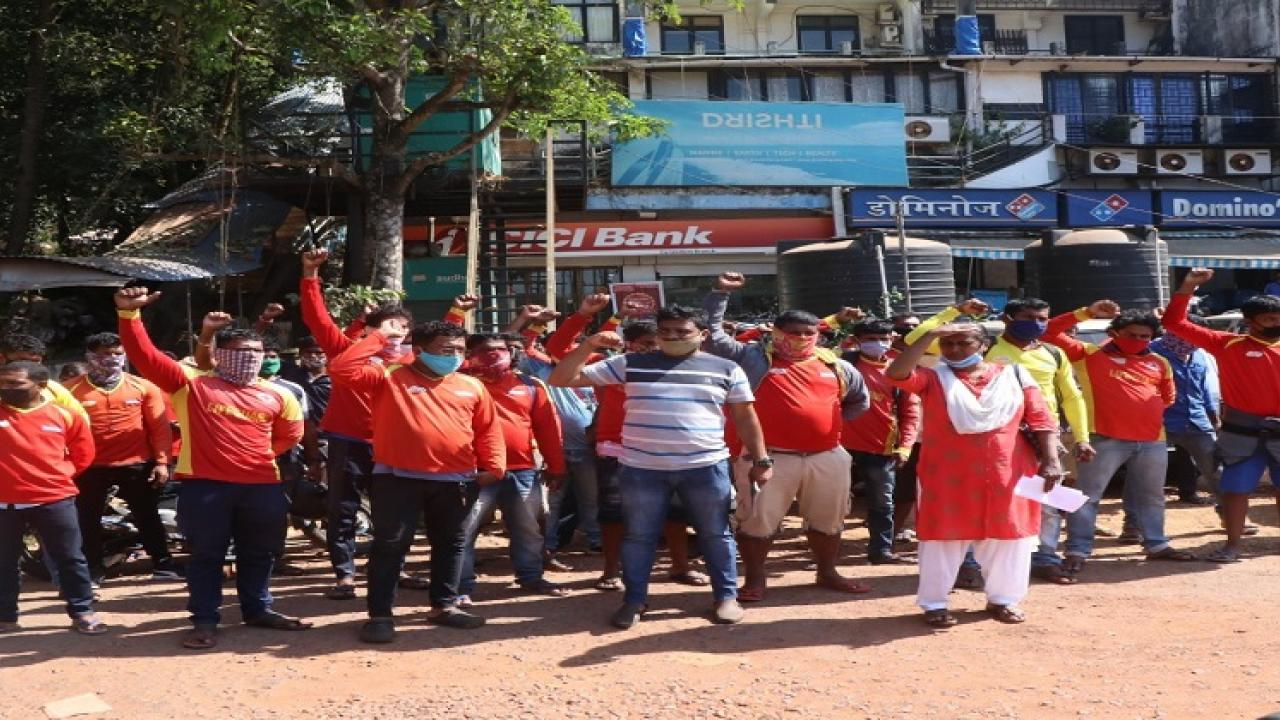 Announcements of goa lifeguards in front of Drushti companys office in Donapaval