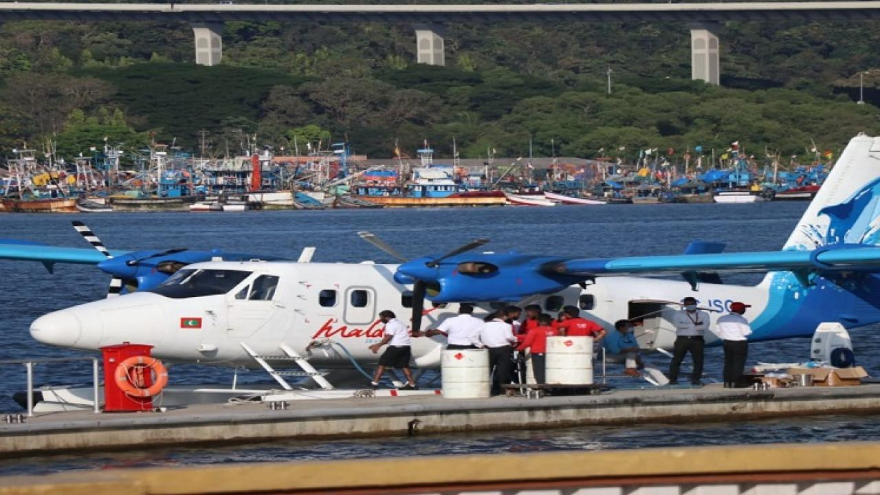 The Sea Plane of SpiceJets landed again in mandvi river