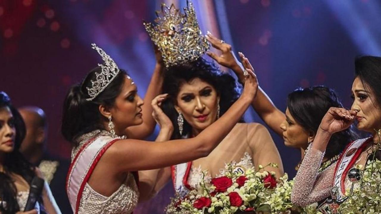 Examiner arrested for snatching crown of Mrs Sri Lanka winner
