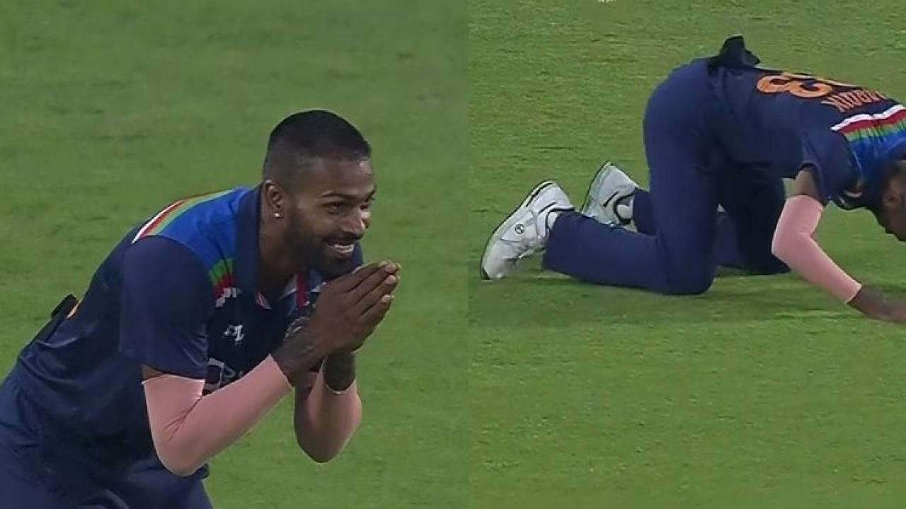 Video Viral INDvsENG Hardik Pandya joins hands in front of Shikhar Dhawan when catches ben Stokes
