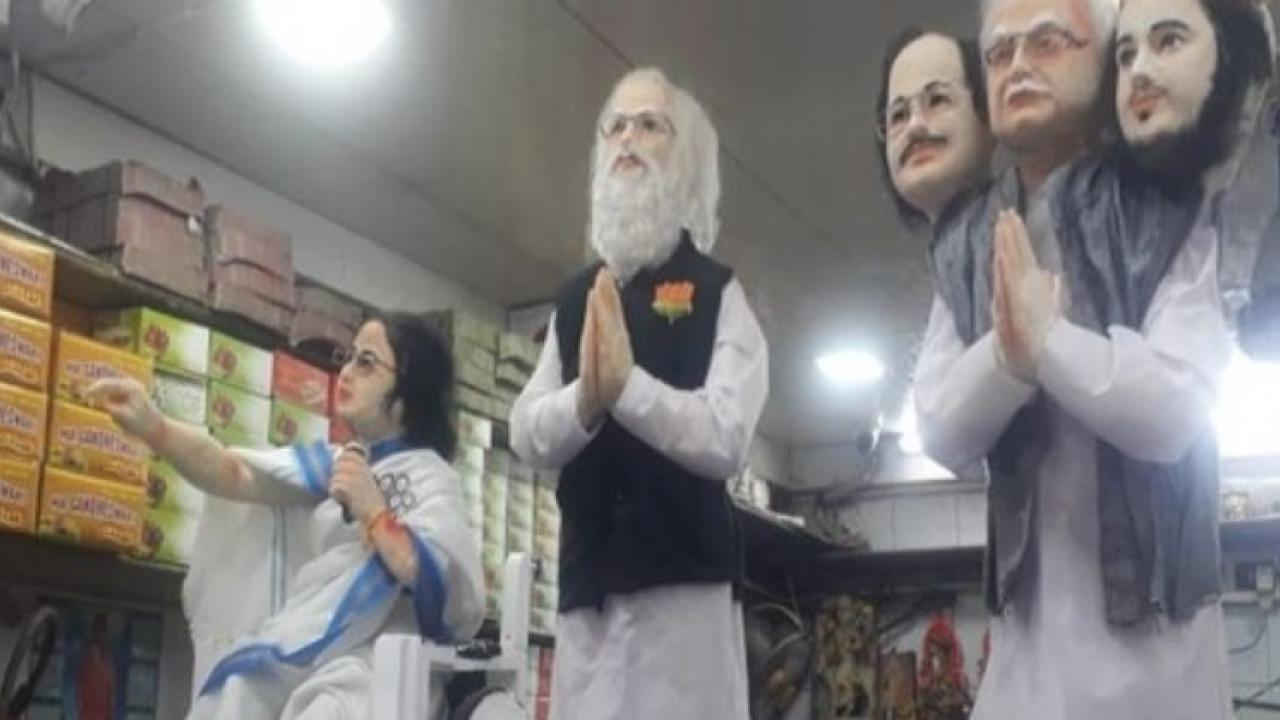 Bengal Howrah shop has sweet statuettes of PM Modi Mamata Banerjee