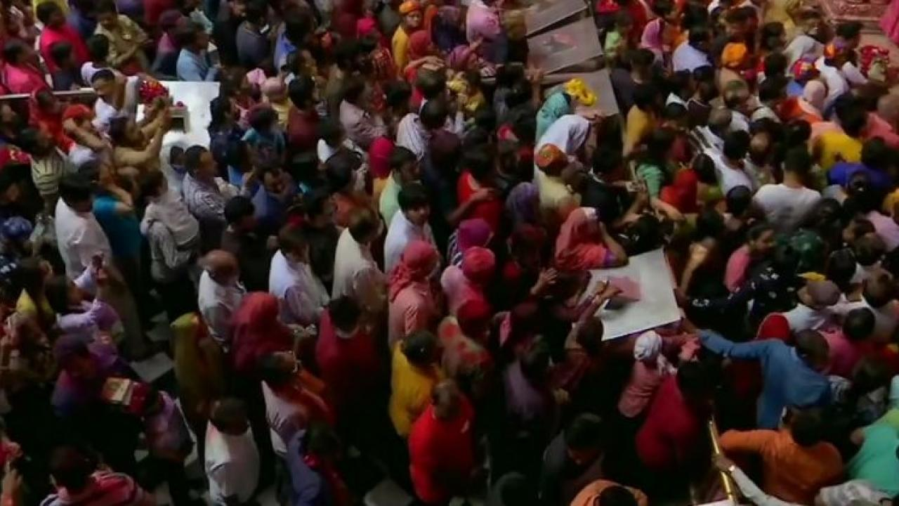Video There is a huge crowd outside the Shri Bake Bihari ji temple in Mathura UP