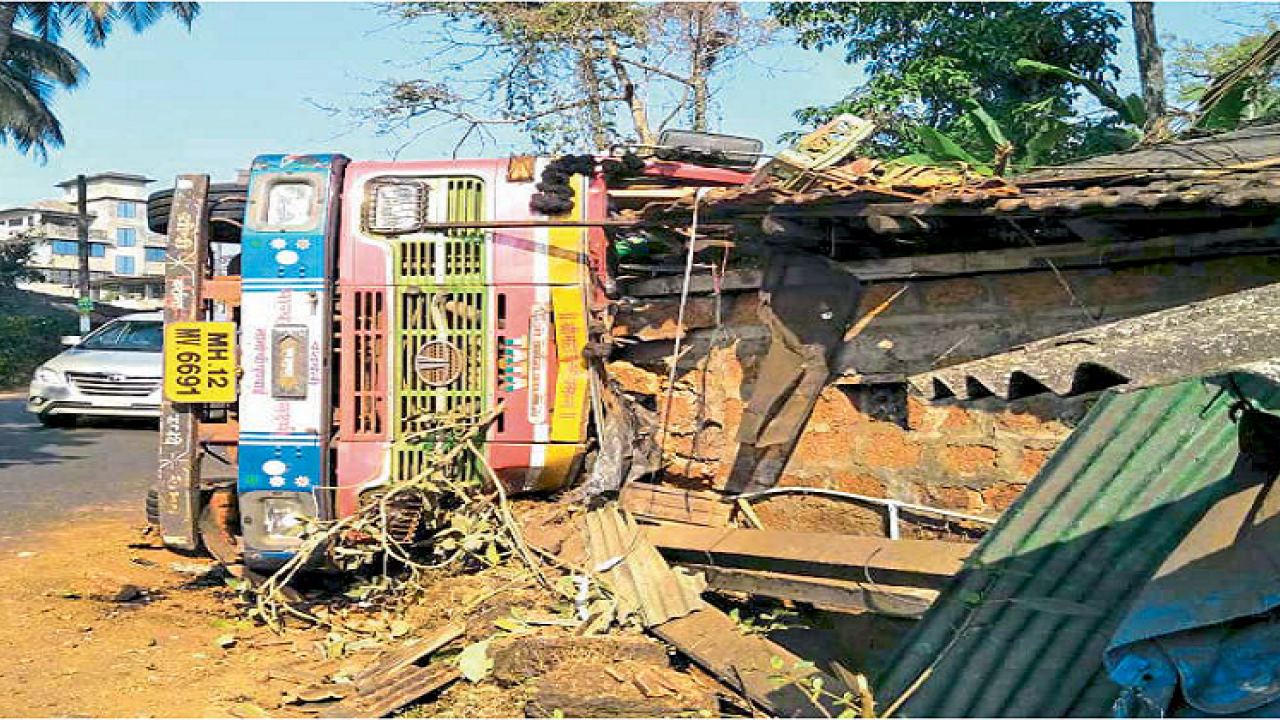 The truck crashed into a house in Sanquelim town in Goa