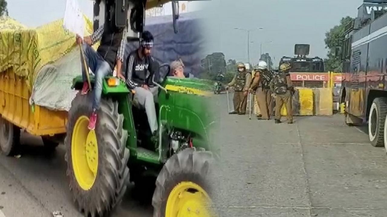 Police trying to stop farmers from going to Delhi to protest against farm Bills