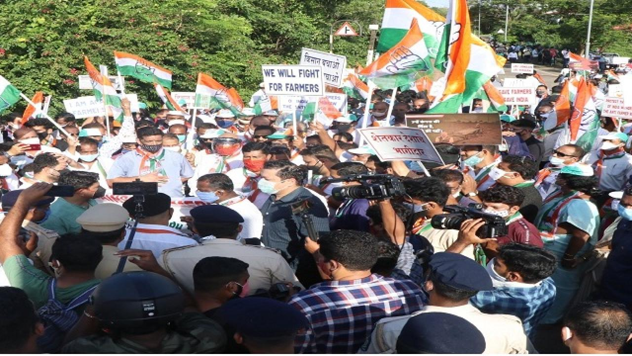 congress protest against agriculture law in goa