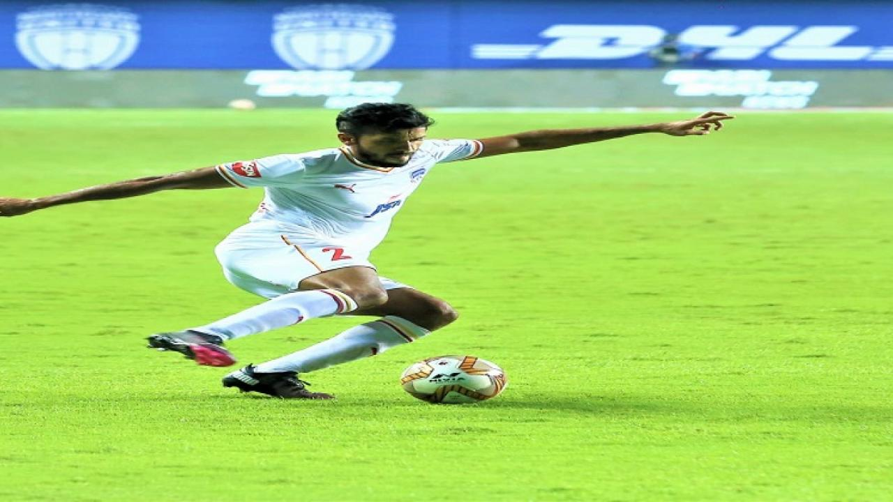 Rahul Bheke equalizes for Bangalore FC in the ISL football match against Northeast United on Tuesday