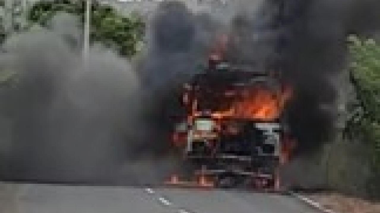 vehicles burnt