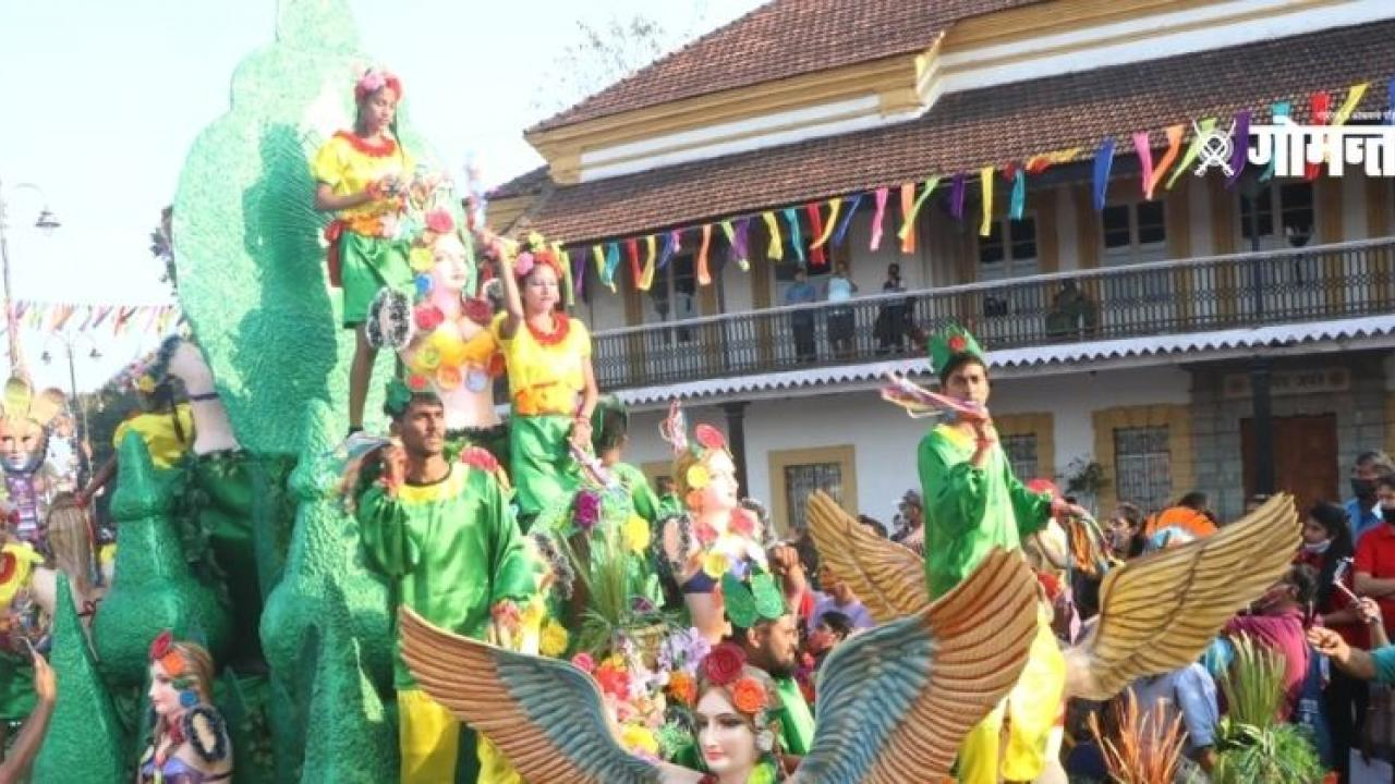 The message of environmental conservation is been given in Goa Carnival