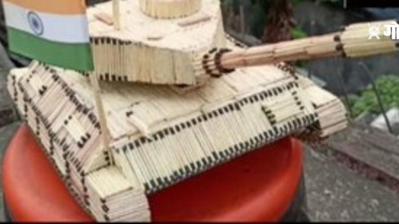 Indian Army Day A young boy from Odisha has created matchsticks beautiful army tanker