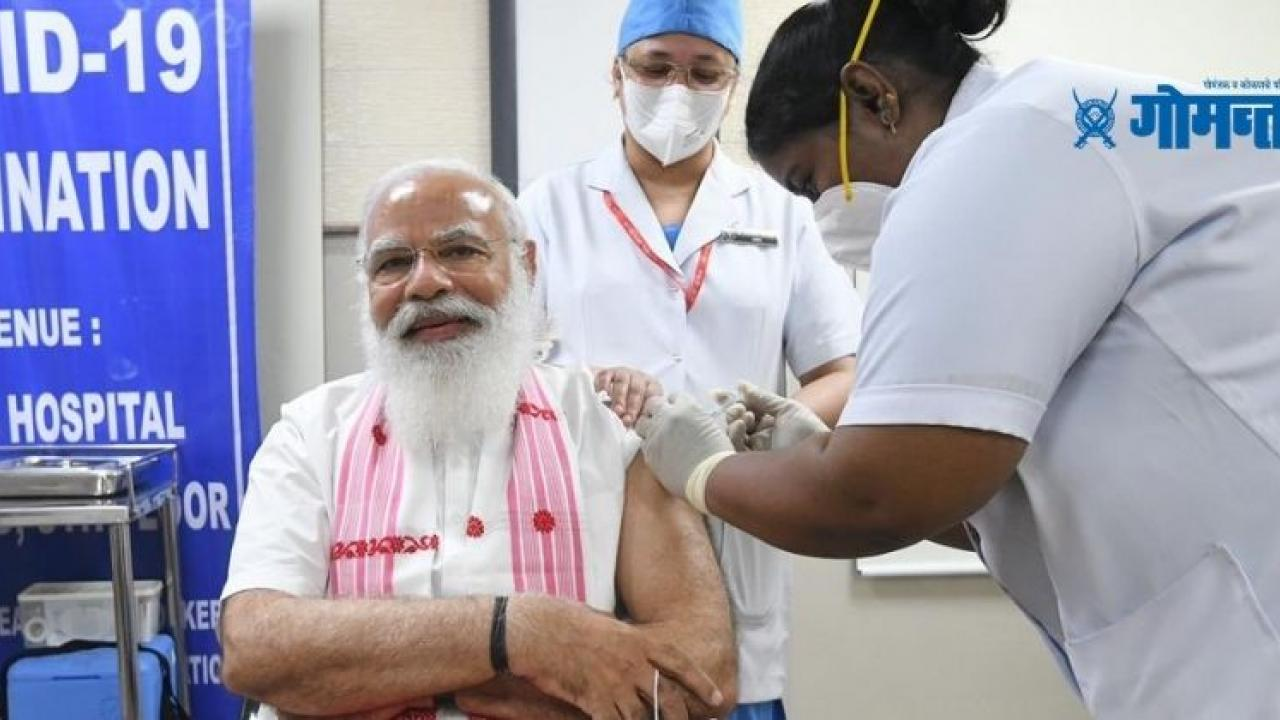 Prime Minister Narendra Modi vaccinated with first dose of corona vaccine