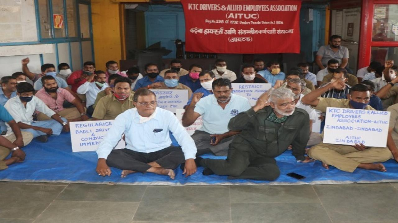 Kadamba drivers union agitation at interstate bus stand in goa