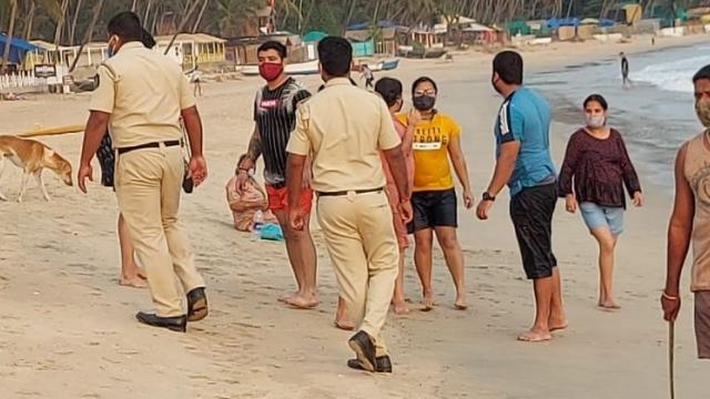 The tourists were sent back to the beach in South Goa by the police.