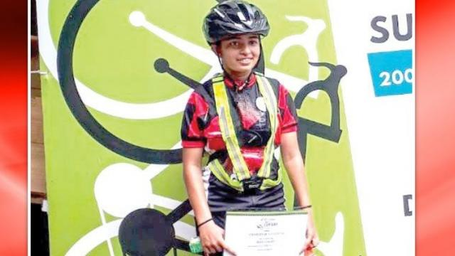 eighteen year old Meghan Fernandez completed the 200 km cycling