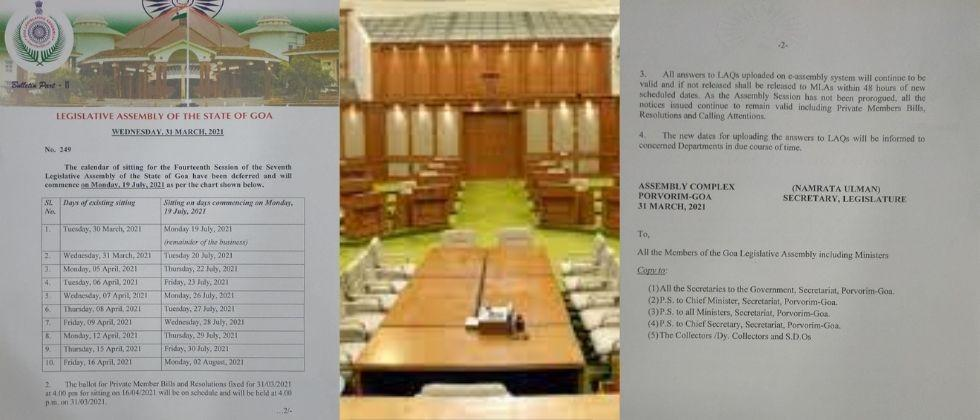 Goa Assembly The Legislative Secretariat has issued a revised schedule for the convention in July