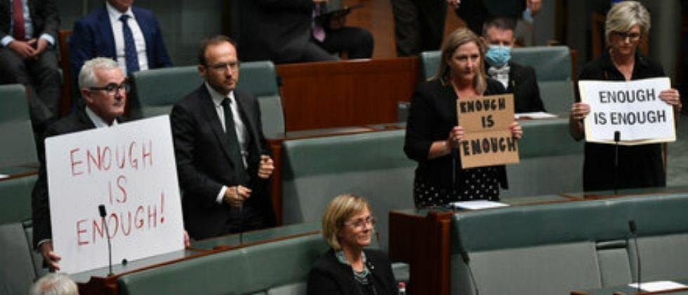 Thousands of women took to the streets in Australia as Parliament was unsafe for women
