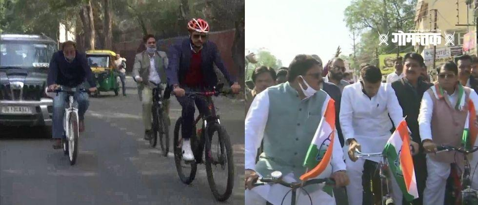 Robert Vadra rides bicycle as protest against the rising fuel prices
