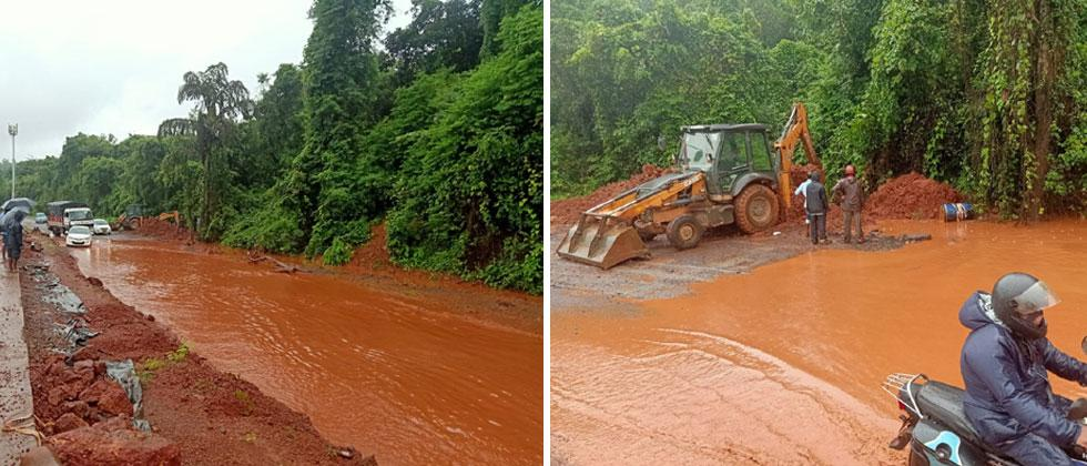 Porascadem: Waterlogging at NH 66 causes inconvenience to commuters