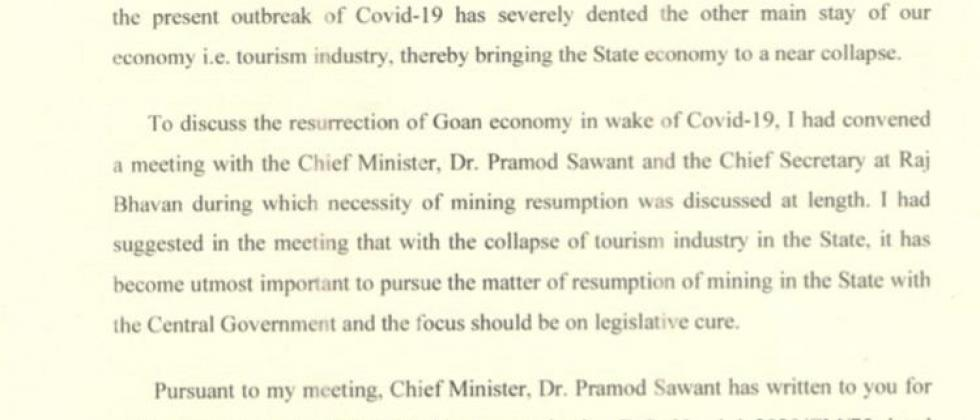 governors letter to home minister